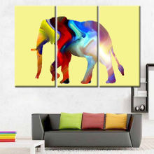 3 Panel Contemporary colourful elephant Art Reproductions Modern Painting Pictures Printed on Canvas for Home and Office