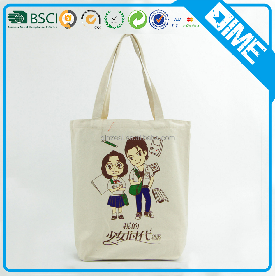 wholesale cheap standard size cotton fabric shopper tote bag with gusset