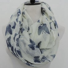 New arrival womoen quality high soft print circle loop funky 100% viscose print butterfly women loop scarf infinity scarves