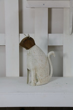 wholesale garden decor Antique White wooden and Metal cat