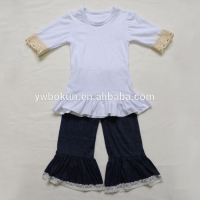 Baby Girls Boutique Clothes Children Cheap Fashionable Outfits Toddler Girls White Cotton Tops And Denim Pants Sets