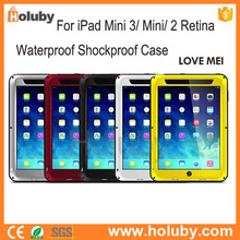 LOVE MEI Powerful Waterproof Shockproof Case for Apple iPad Mini 3/Mini 2 Retina/Mini Metal+Aluminium+Gorilla Glass Hybrid Case