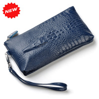Hot 3D 100% Genuine Leather Wristlet Day Clutch Evening Bags Fashion Women Mobile Phone Bag Coin Purse