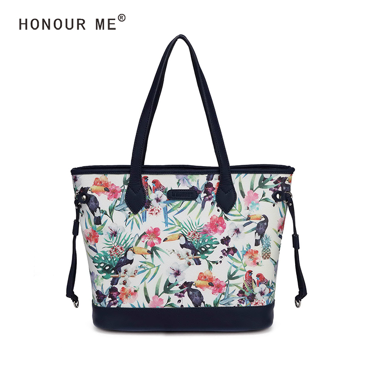 Exotic spring style Tropical flowers and birds printing bag