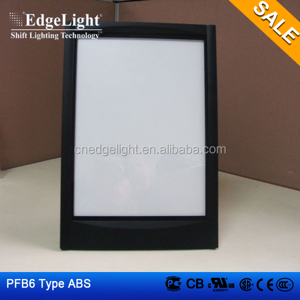Edgelight PF3 led acrylic <strong>light</strong> panels , black ABS frame border , cheap price <strong>advertising</strong> <strong>light</strong> <strong>boxes</strong>