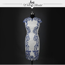 RSW753 Tight Sexy Short Country Mini Embroidery Designs For Royal Blue And White Wedding Dresses