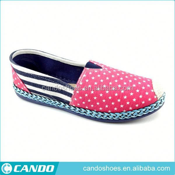 high quality printed slip on ladies summer canvas shoes