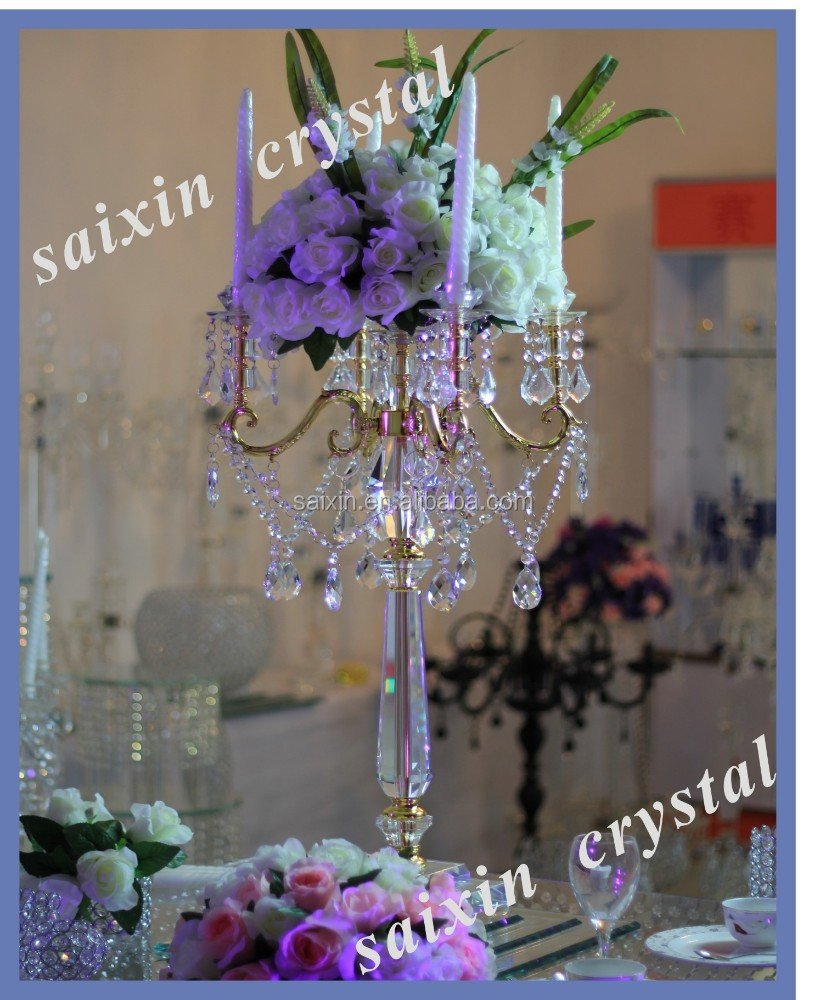 New design wedding wedding centerpieces gold candelabra with flower stand