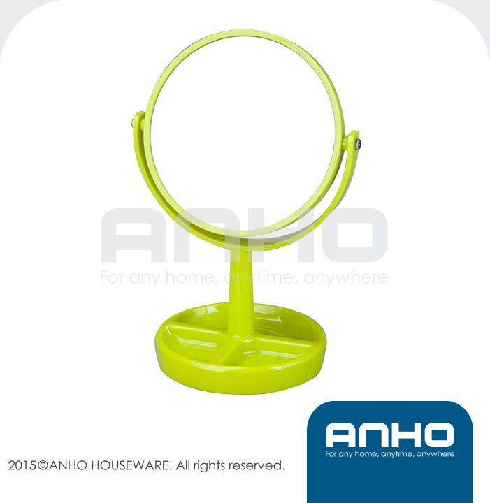 Green double-sided table stand mirror, cosmetic mirror, makeup mirror with organizer