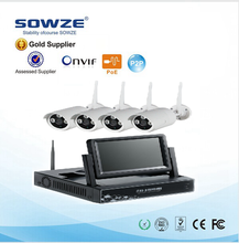 top selling 1.0mp bullet ip camera set/1080p camera nvr wireless kit with 10 inch lcd monitor