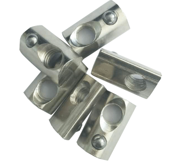 Standard 40 Series Aluminum Slot Carbon Steel Half Round Roll In Sliding T Slot Nut with M8 zinc cpated steel spring nut