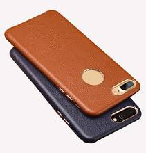 Genuine leather case for iPhone 8 8Plus 7 Plus 6splus X Litchi texture Real cowhide for iphone 7 cover