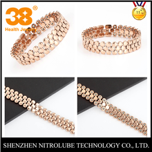 38 Factory price korea rose gold 99.9999% germanium 13mm health titanium bracelet Japan for tirednees relief