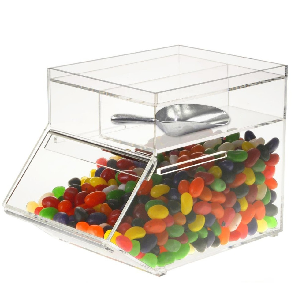 Clear Acrylic Candy Dispenser Candy Container Box, Stackable Acrylic Bulk Food Bin Bulk Candy Container with Scoop Holder