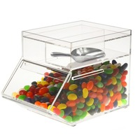 Clear Acrylic Candy Dispenser Candy Container Box, Stackable Bulk Food Bin with Scoop