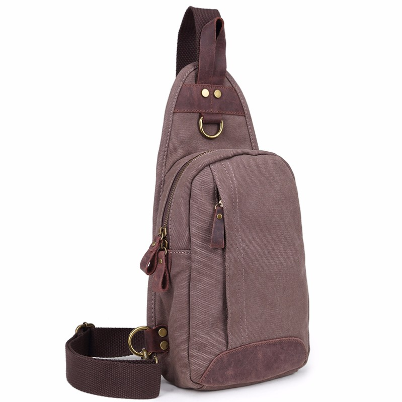 Customized men casual cross body sling canvas single chest shoulder bag made in china