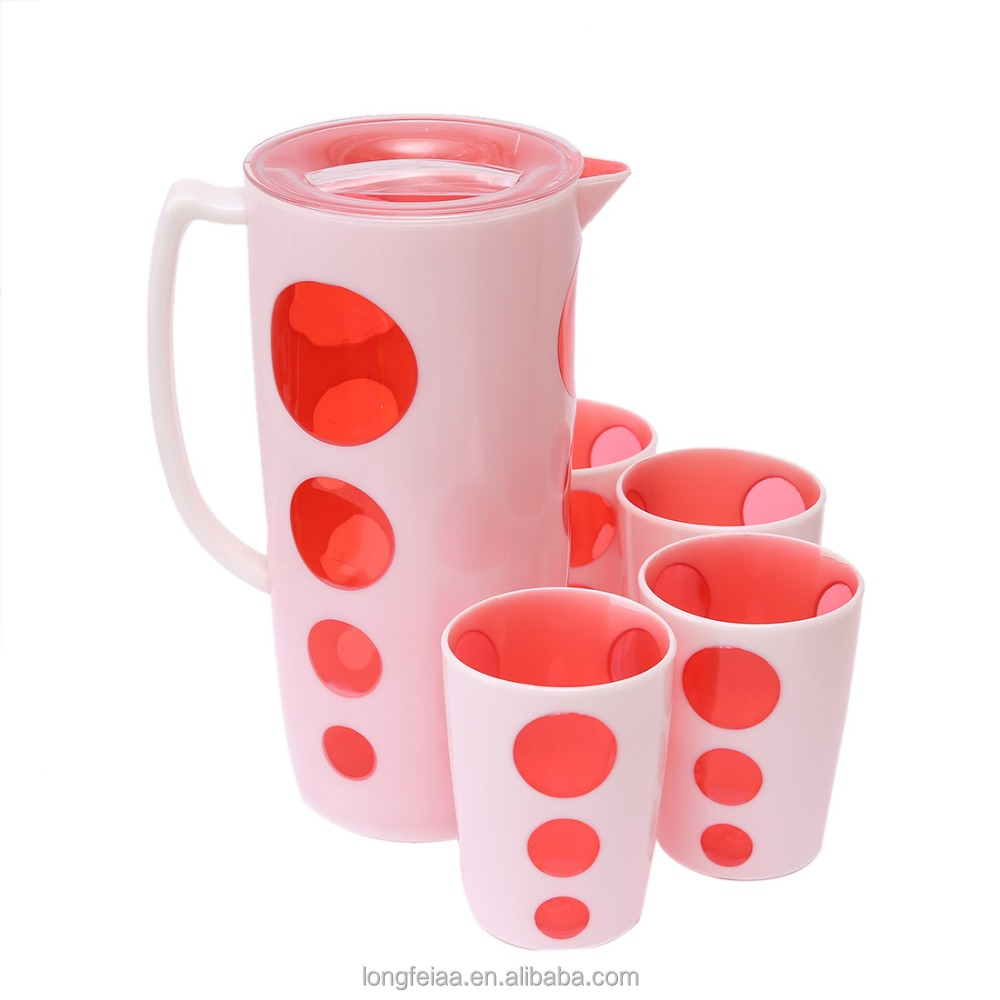 2.5L Plastic Water Pitcher Set With 4 Cups
