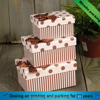 high quality gift paper box with ribbon tie
