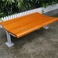 Metal frame bench with wood bench slats seat leisure ways outdoor furniture