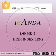 1.60 MR-8 spheric single vision corrective lenses