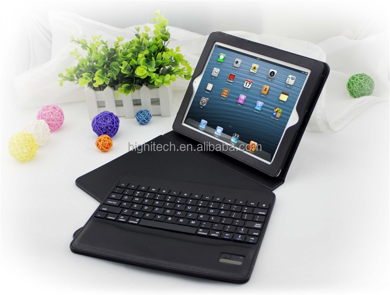 Folding Leather Folio Case Cover Stand & Removable Bluetooth Keyboard for iPad 2/3/4