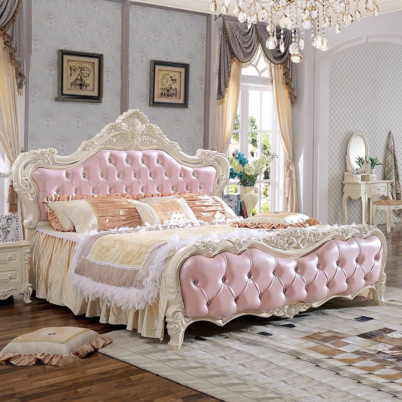 quality antique design bedroom furniture/luxury 1.8m soft <strong>bed</strong>/pink princess <strong>bed</strong>