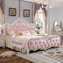 quality antique design bedroom <strong>furniture</strong>/luxury 1.8m soft bed/pink princess bed