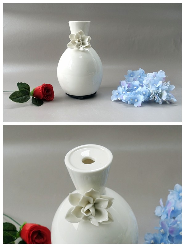 Electric Aromatherapy Essential Oil Diffuser In Ceramic Aroma Bloom Diffuser With Decorative Flower