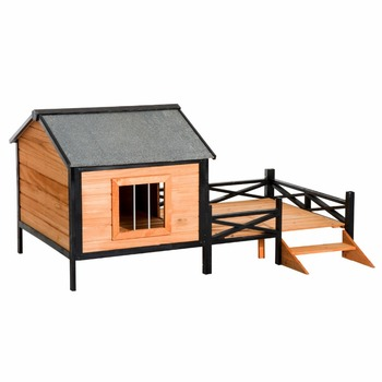 Large Wood Elevated Dog House Kennel Weather Resistant Roof w/ Porch