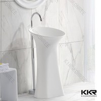 factory Eco-friendly&Harmless artificial stone freestanding pedestal basin solid surface bathroom sink