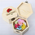 Valentine's Day gift carving soap flower with gift wood box hand carved soap flowers