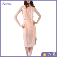 Alluring Sleeveless Side Split Solid Color Women Chiffon Dresses