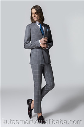 Tailor made to measure Gray Plain cashmere wool Men's suit