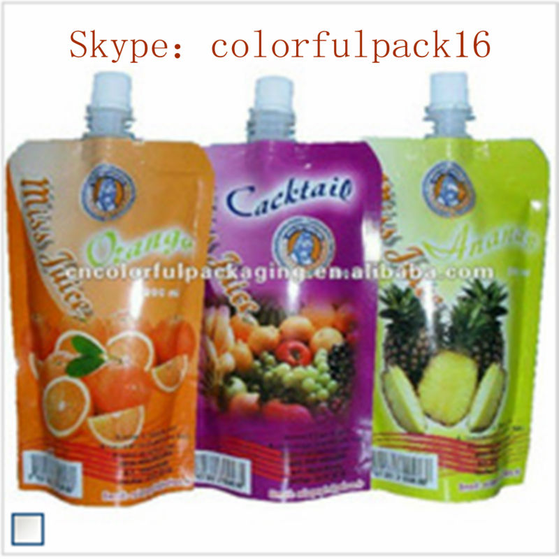 special plastic printing pouch with spout /laminated reusable pouch stand up for juice with cap