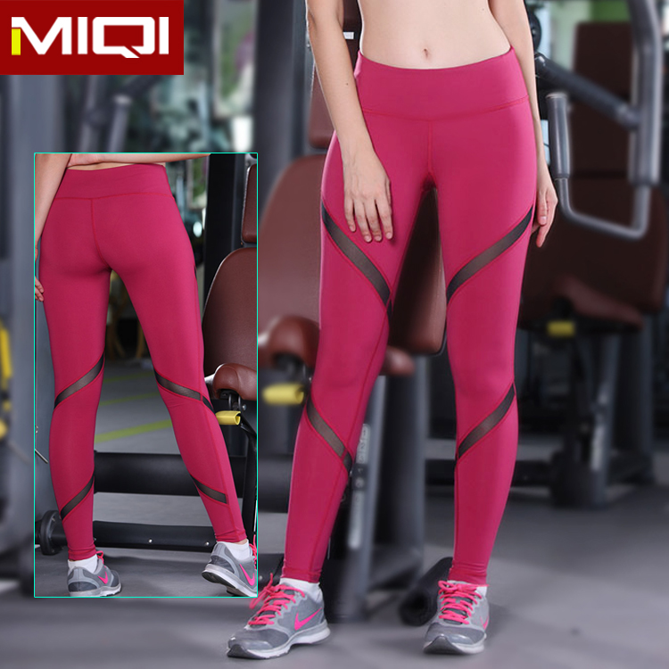 Fashionable design nylon and spandex mesh leggings women cutting tight yoga workout pants
