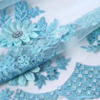 Dini handmade embroidery dress material in china fabric, silver lace embroidered fabric, embroidery beads net fabric