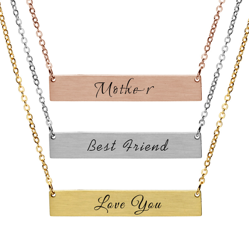 <strong>Necklace</strong> For Women Gold Plated Bar Custom Engraved Name <strong>Necklace</strong> Personalized Initial <strong>Necklace</strong>