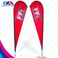 wholesale polyester fabric large feather flag banner display for promotion