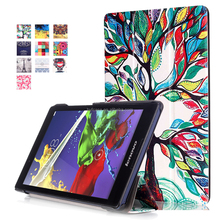 love tree Printed Leather Case Smart Auto Sleep Wake Cover For Lenovo Tab 2 A8-50 A8-50F