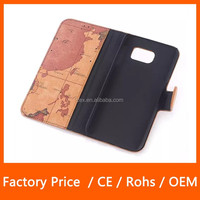 Fashion Wallet Luxury Lychee Leather World Map PU Leather Protective Case with Credit Id Card Slot Holder Case For Samsung S6