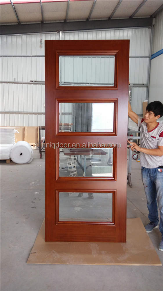 Uniqdoor stained teak wood veneered 4 glass panel interior door designs