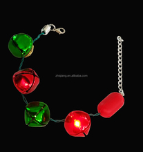 Christmas supplies led green and red metal bell flashing lights adjustable bracelet jewelry with free sample