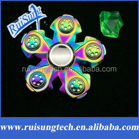 Five Flower Rainbow Alloys Hand Spinner Fidgets EDC Sensory Decorate finger spinner metal For Autism and ADHD Anti Stress Toys