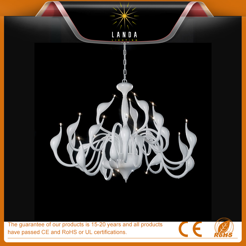 White Color Art Blown Glass Chandelier For Sale