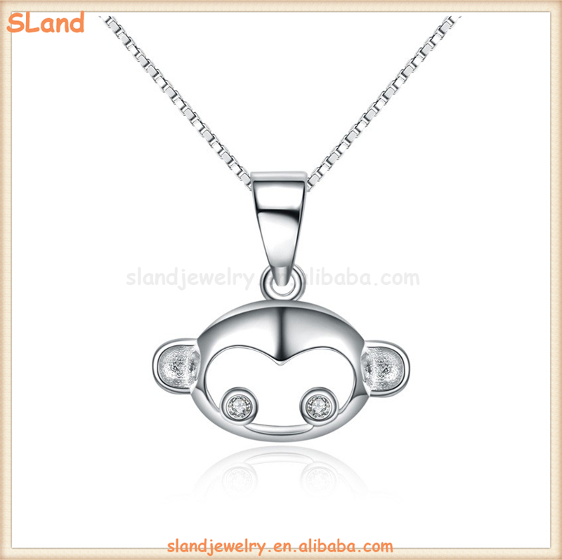 SLand Jewelry Low MOQ wholesale Minimalist hollow design 925 sterling silver monkey head charm pendant for necklace or bracelet