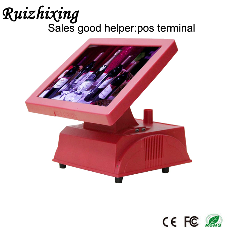 "2015,15"" resistive touch screen, windows POS device ,CPU Inter celeron1037B Dure Core horizontal type, stand ,black color"