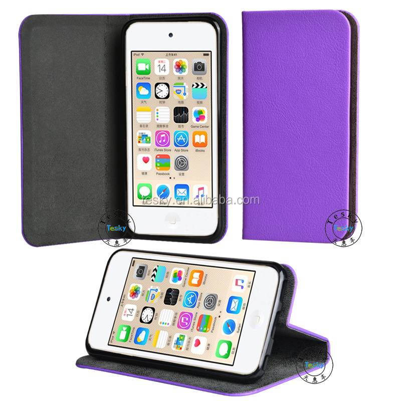 Wholesale High Quality Best Protective PU Leather Case for iPod touch 6, Card Holder Wallet