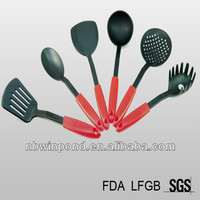 Pass FDA certificate, 6pcs plastic nylon kitchen utensils with red handle