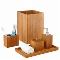 useful hotel popular classical Luxury Fashion Vanity 100% Natural Bamboo brown Bath and Vanity Set bathroom accessory 5 pcs