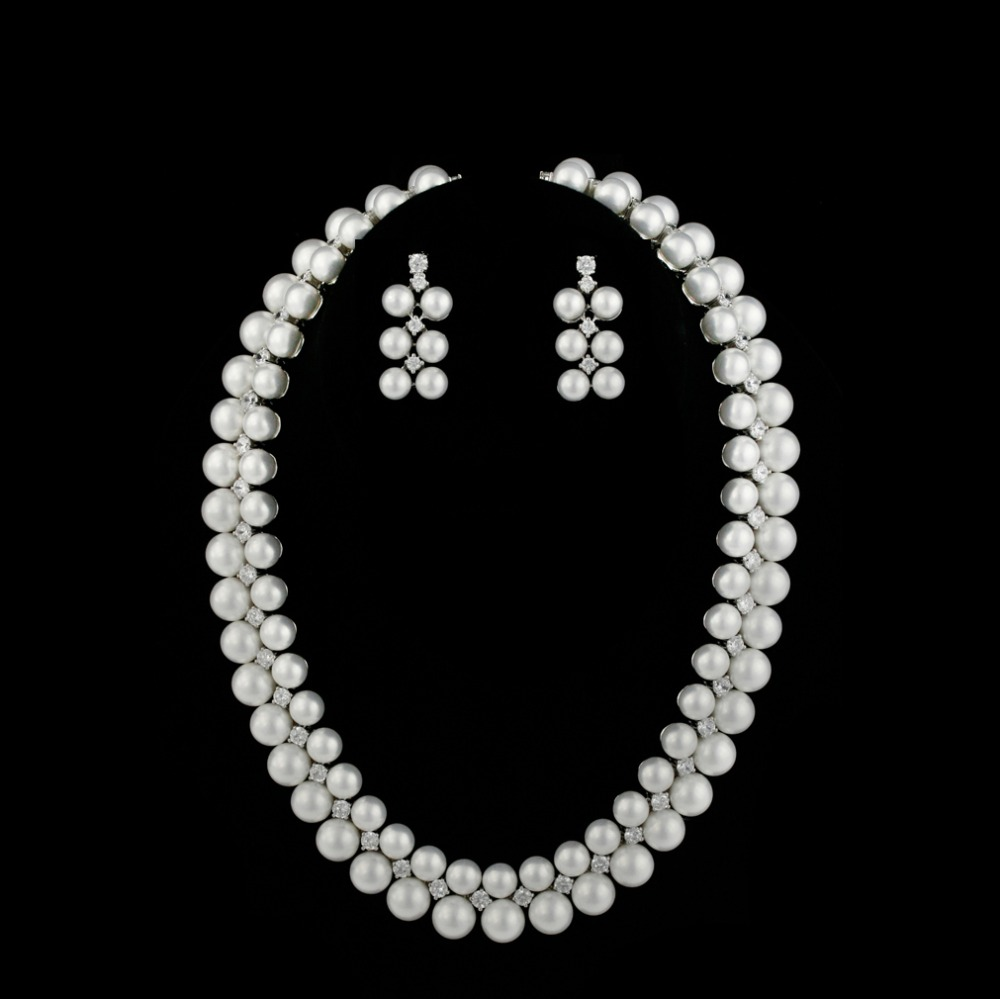 Antique Victorian Pearls And Zirconia Especially designed for Indian pearl jewellery ,wedding jewerly set